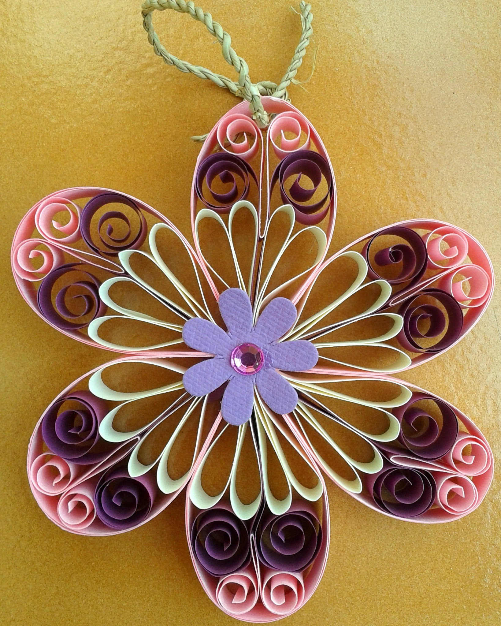 Flower wall hanging pink