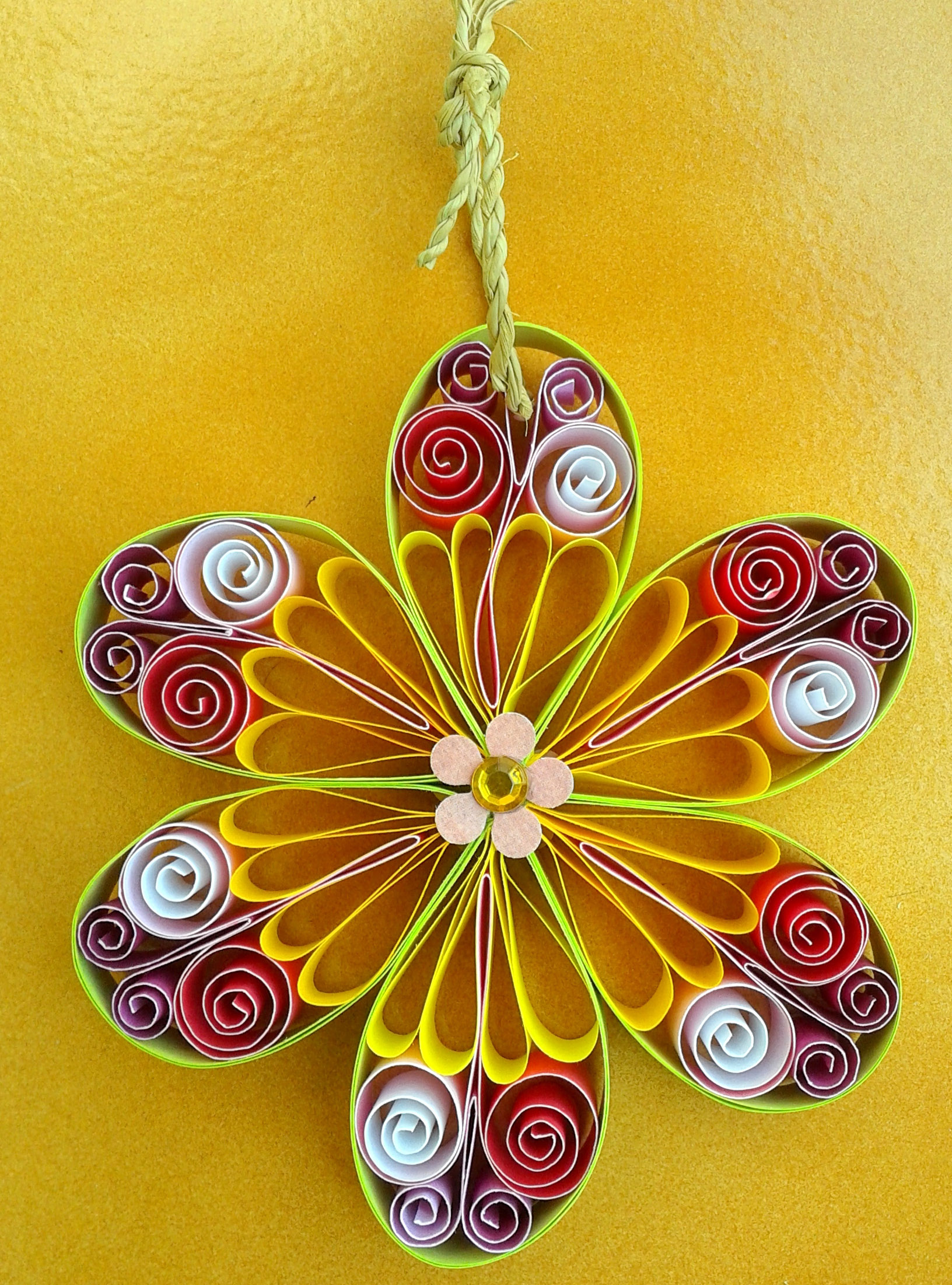 """Be the first to review """"Flower wall hanging yellow"""" Click here to ..."""