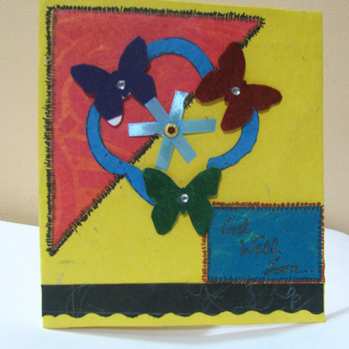 3 Butterflies Card in Get Well Soon
