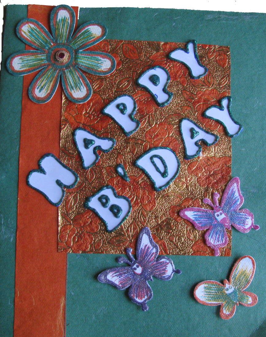 3 Butterflies Birthday Card in Diwali Cards