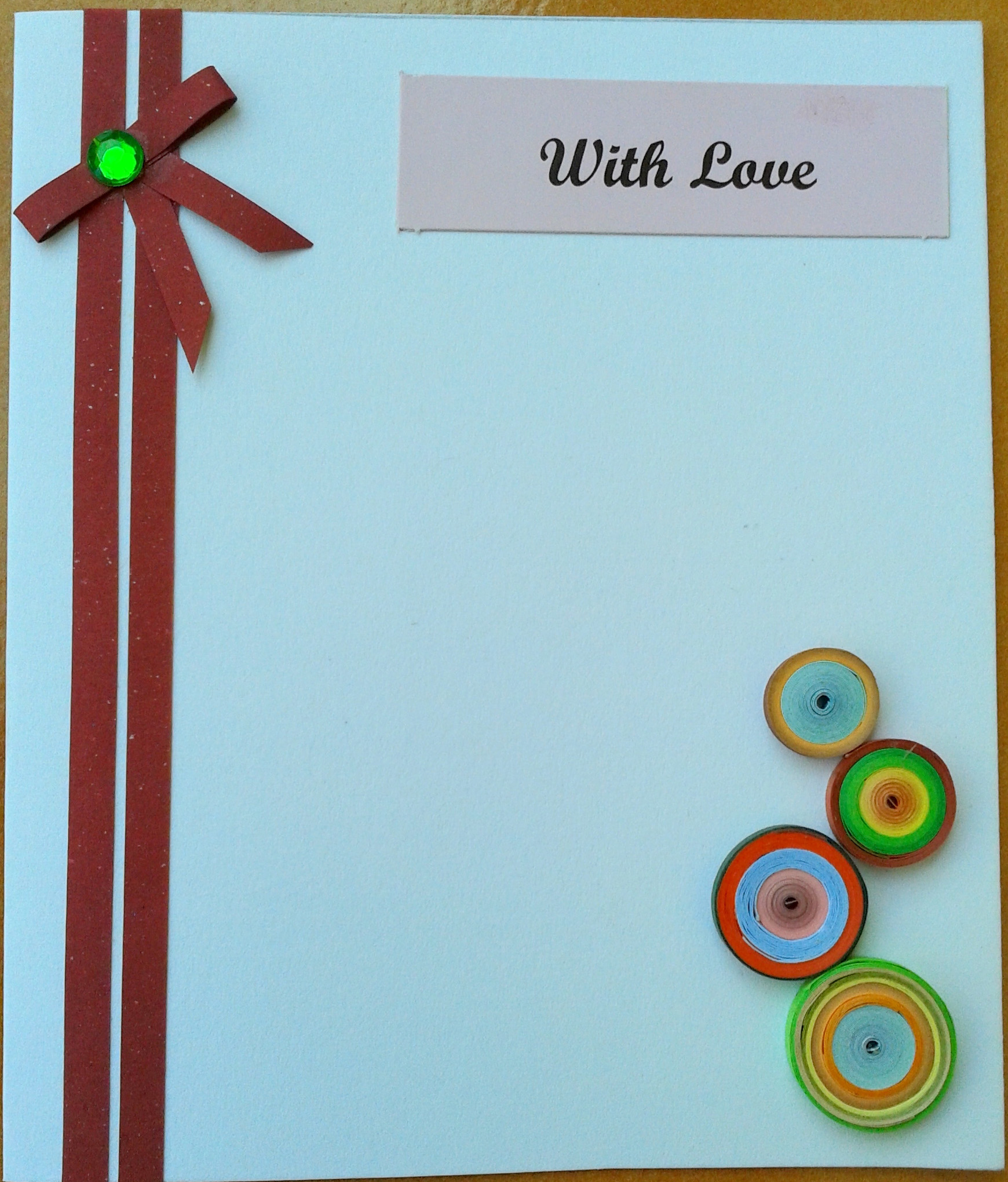 Multicolored quilled card in Valentine Cards